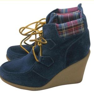 Tommy Hilfiger Blue Suede Wedge Ankle Boots